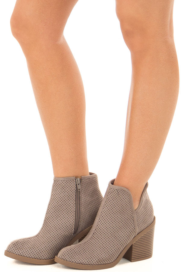 Grey Faux Suede Heeled Bootie with Cutout Details front side view