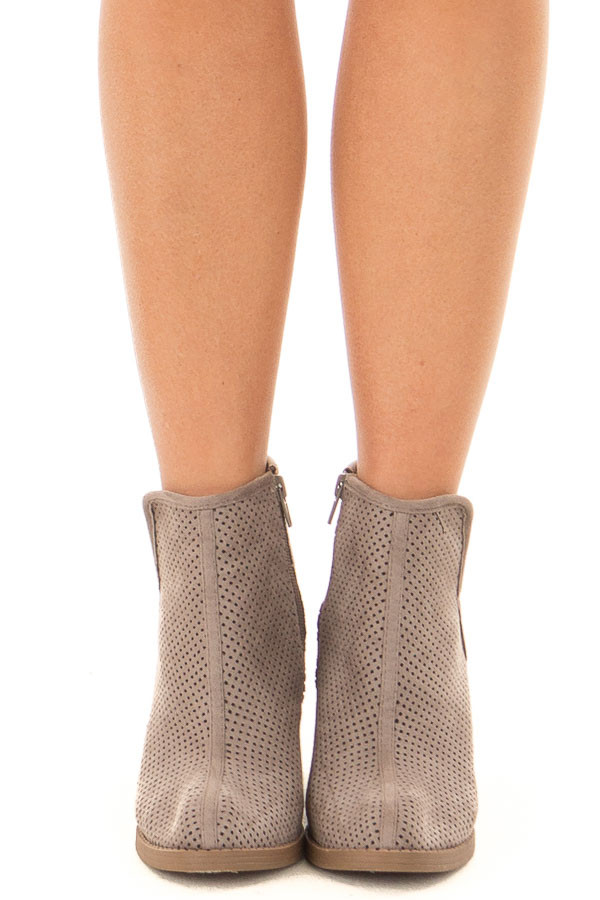 Grey Faux Suede Heeled Bootie with Cutout Details front view