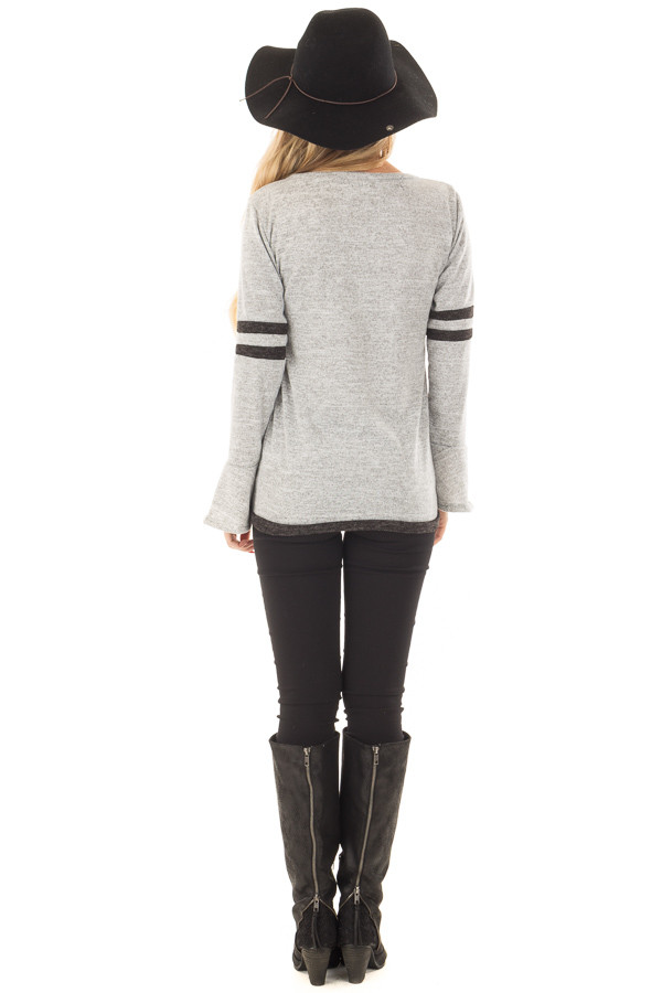 Heather Grey Bell Sleeve Top with Black Striped Detail back full body