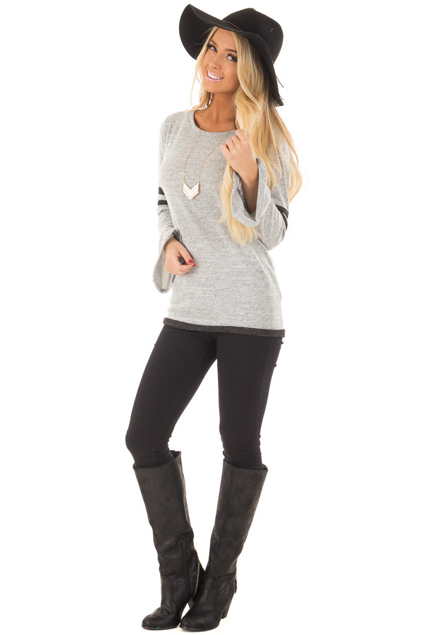 Heather Grey Bell Sleeve Top with Black Striped Detail front full body