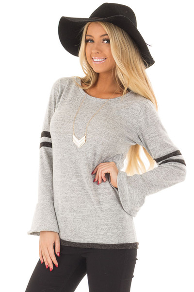 Heather Grey Bell Sleeve Top with Black Striped Detail front close up