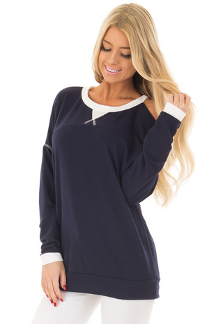 Navy Cold Shoulder Top with White Contrast front close up