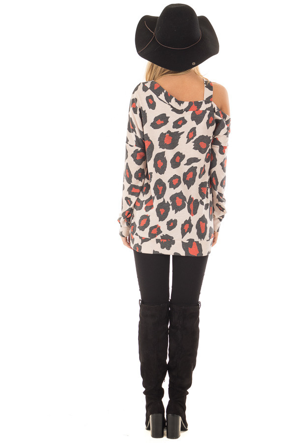 Charcoal and Rust Leopard Print Cold shoulder Top back full body