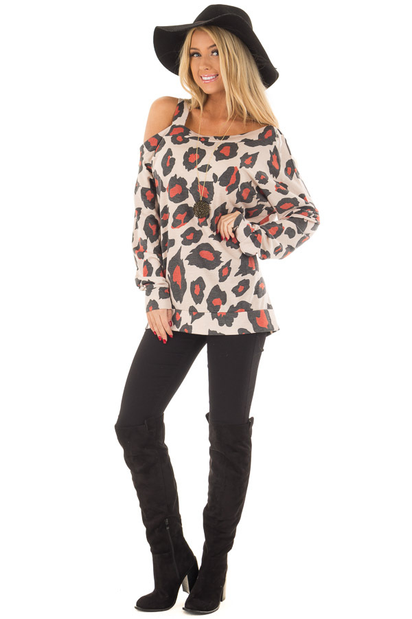 Charcoal and Rust Leopard Print Cold shoulder Top front full body