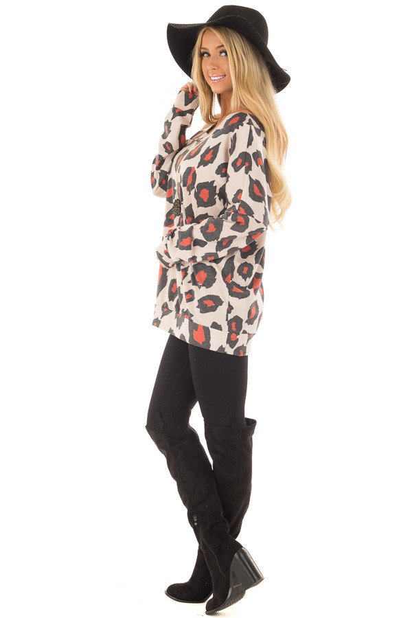 Charcoal and Rust Leopard Print Cold shoulder Top side full body