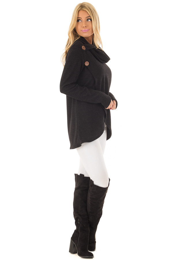 Black Cowl Neck Wrap Style Sweater with Button Details side full body