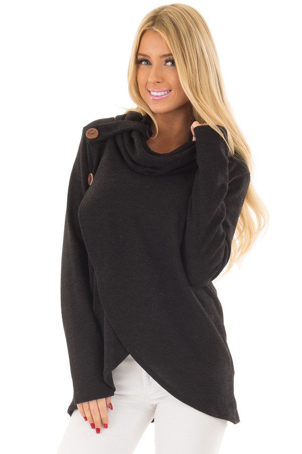 Black Cowl Neck Wrap Style Sweater with Button Details front close up