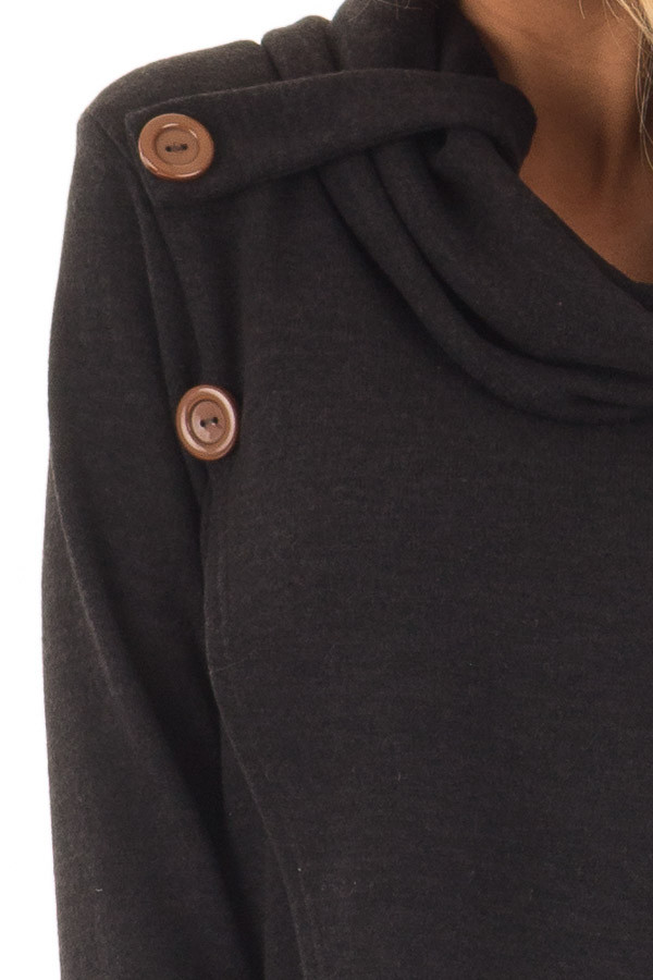 Black Cowl Neck Wrap Style Sweater with Button Details detail