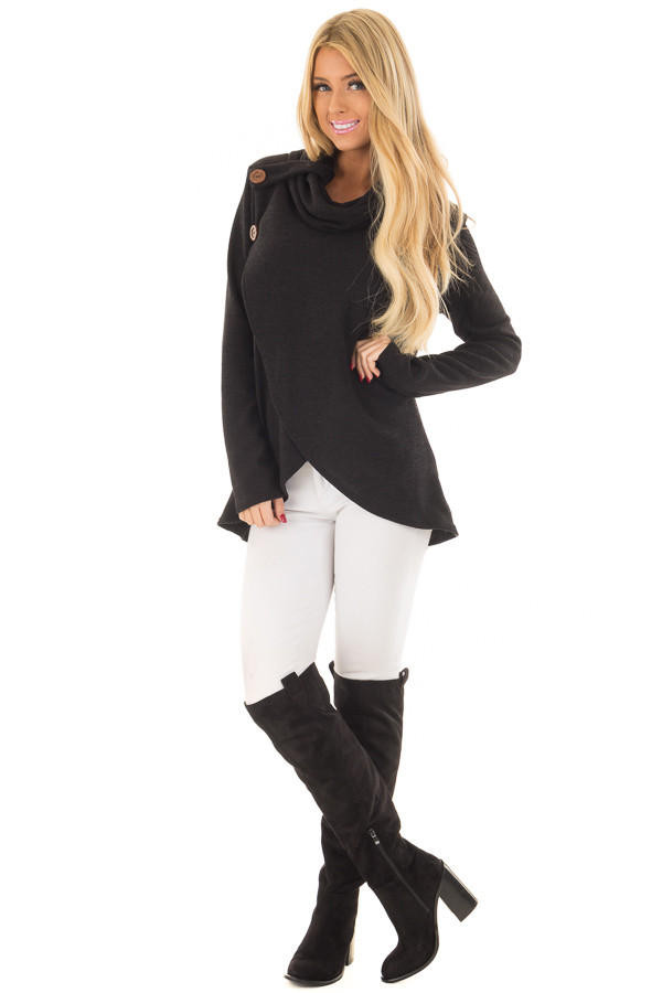 Black Cowl Neck Wrap Style Sweater with Button Details front full body