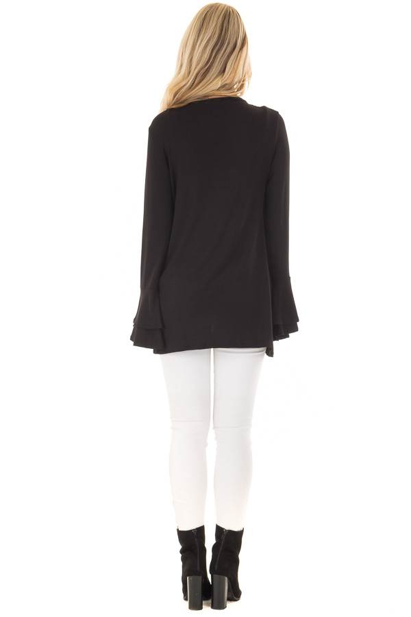 Black Tiered Bell Sleeve Top with Side Twist Detail back full body