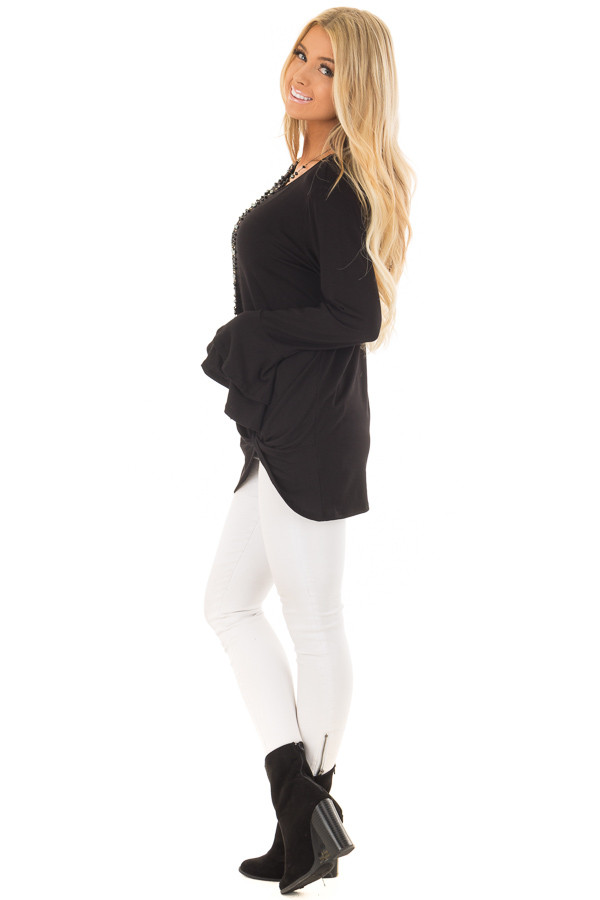 Black Tiered Bell Sleeve Top with Side Twist Detail side full body