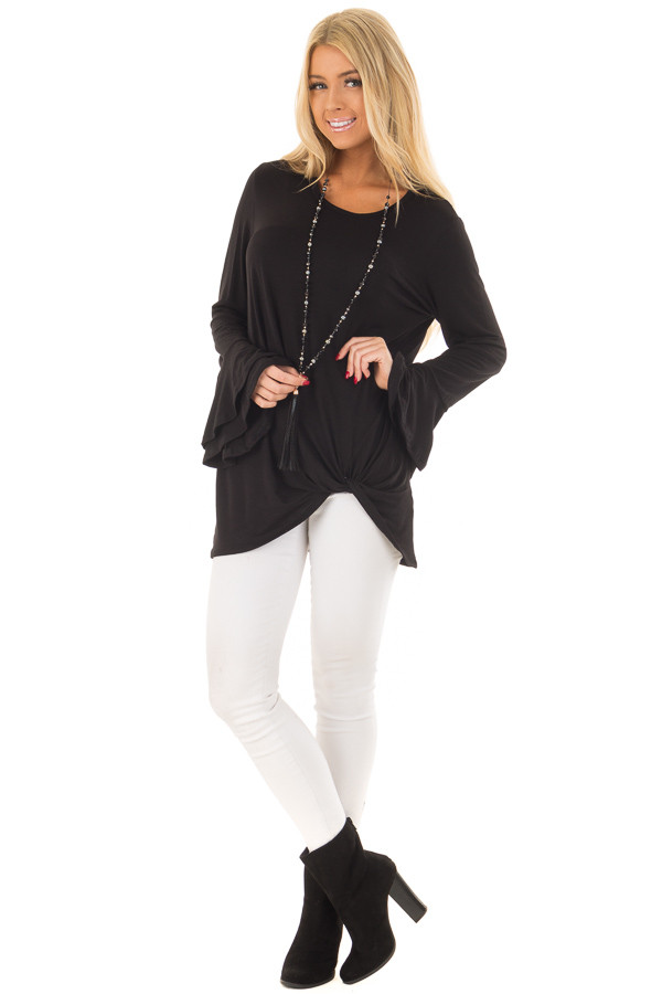 Black Tiered Bell Sleeve Top with Side Twist Detail front full body