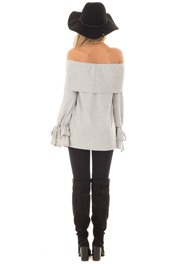 Heather Grey Off the Shoulder Top with Tiered Bell Sleeves back full body
