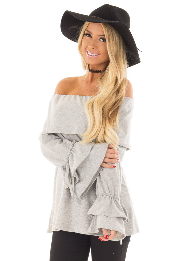 Heather Grey Off the Shoulder Top with Tiered Bell Sleeves front close up