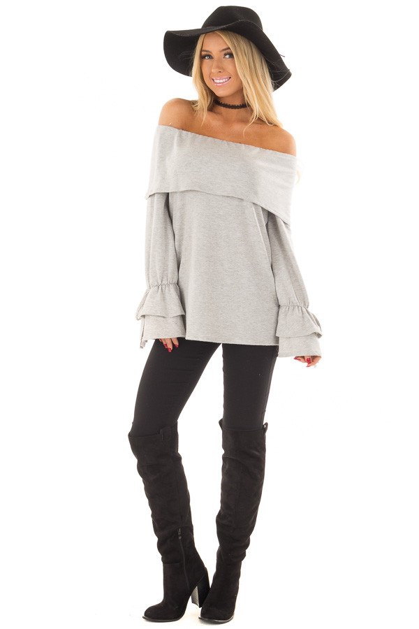 Heather Grey Off the Shoulder Top with Tiered Bell Sleeves front full body