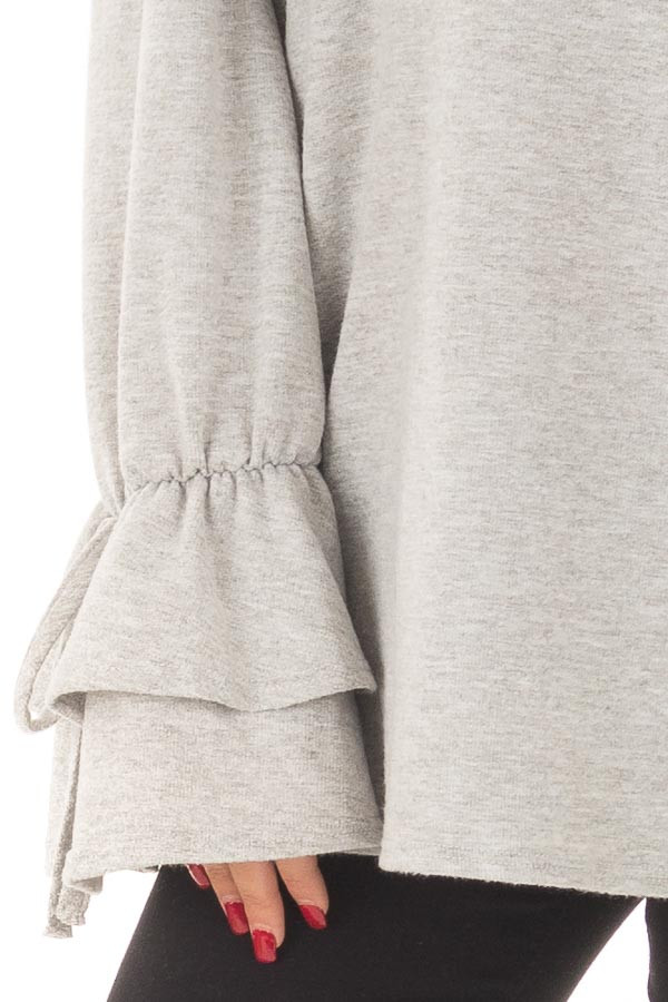 Heather Grey Off the Shoulder Top with Tiered Bell Sleeves detail