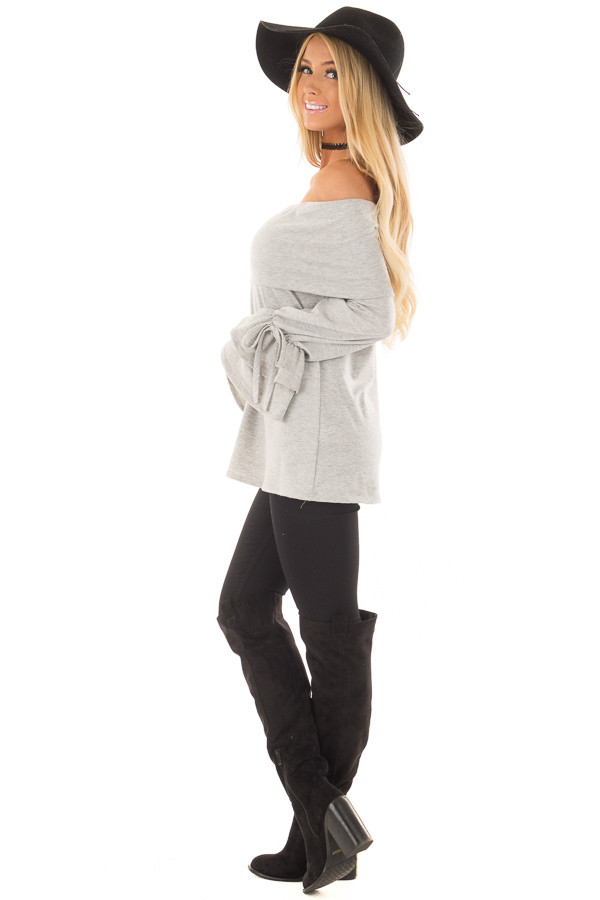 Heather Grey Off the Shoulder Top with Tiered Bell Sleeves side full body
