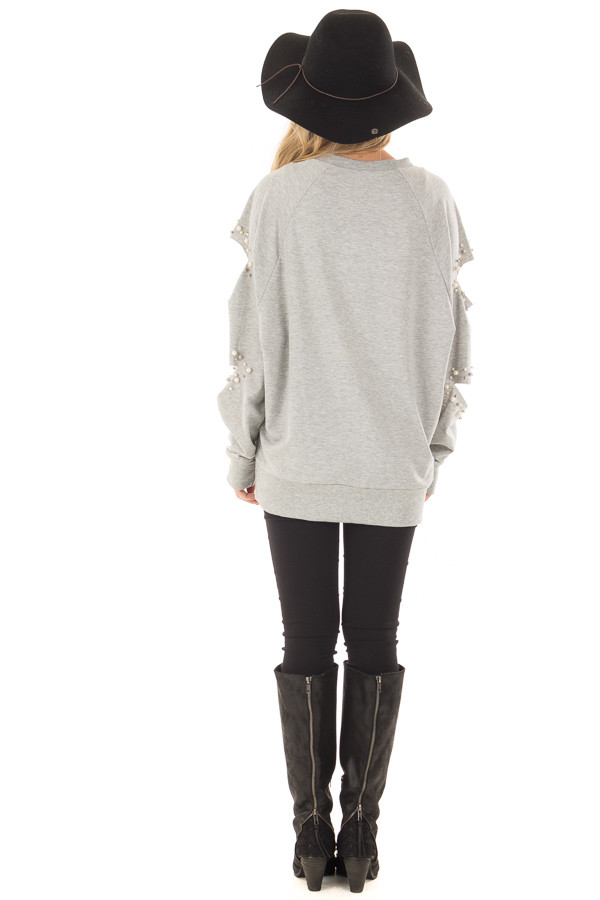 Heather Grey Oversized Top with Sliced and Beaded Detail back full body