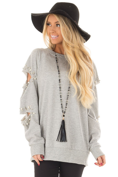 Heather Grey Oversized Top with Sliced and Beaded Detail front close up