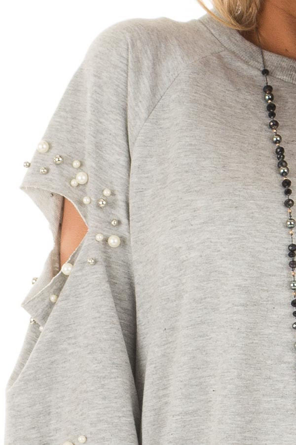 Heather Grey Oversized Top with Sliced and Beaded Detail detail