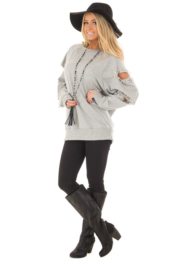 Heather Grey Oversized Top with Sliced and Beaded Detail front full body