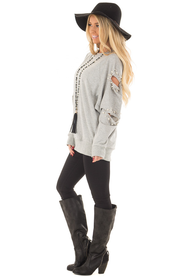 Heather Grey Oversized Top with Sliced and Beaded Detail side full body