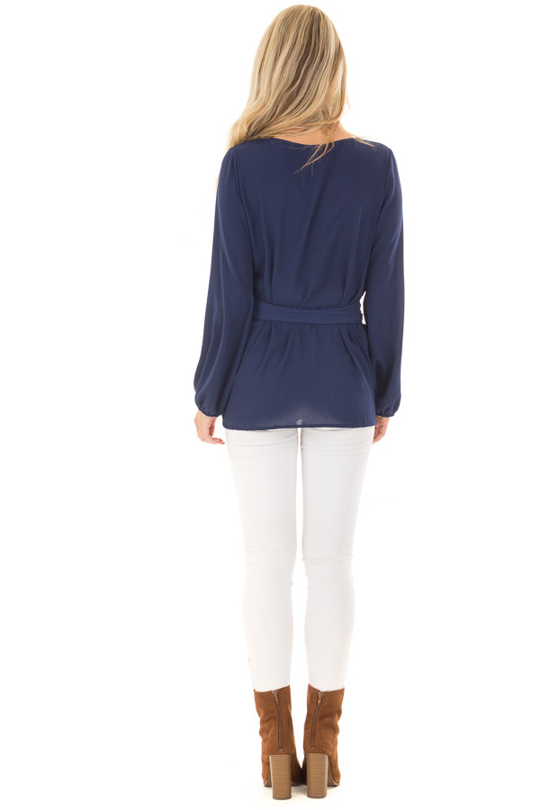 Navy Top with Waist Tie Detail back full body