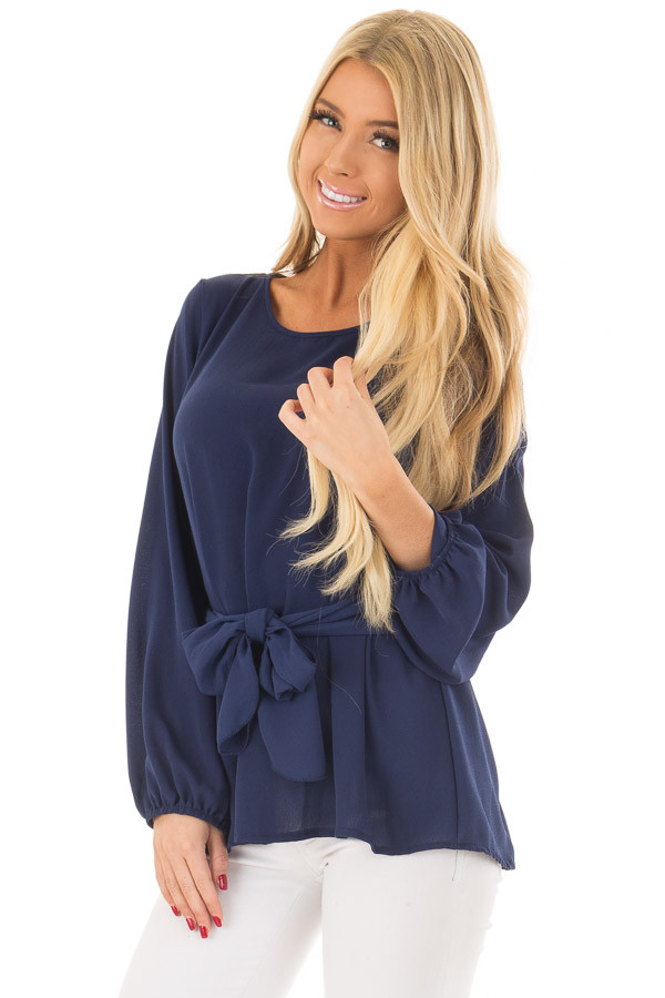 Navy Top with Waist Tie Detail front close up