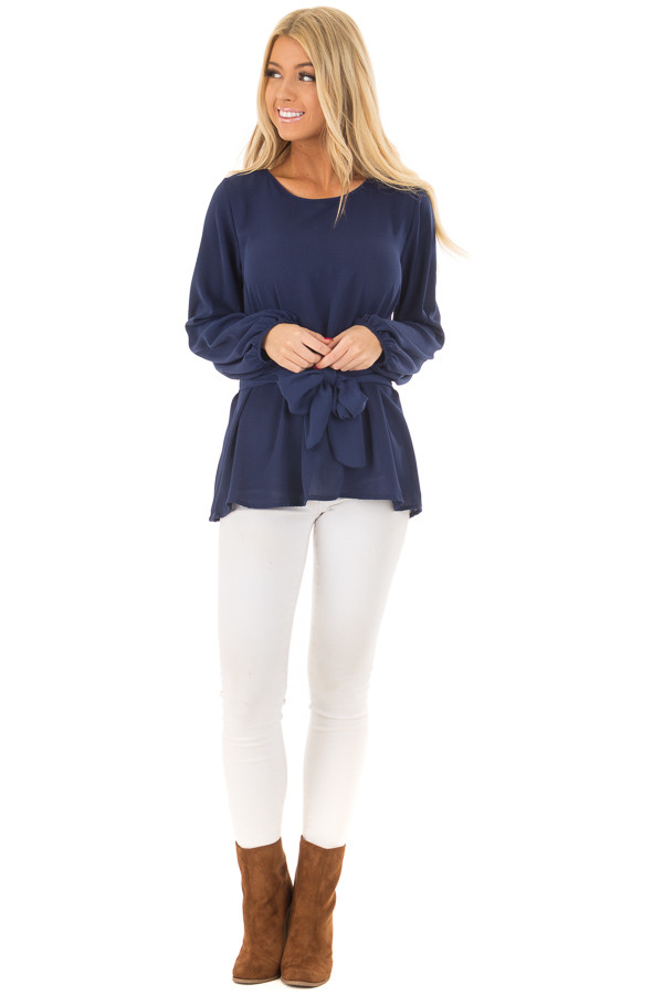Navy Top with Waist Tie Detail front full body