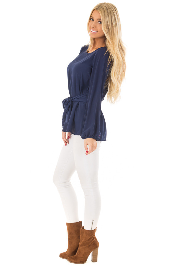 Navy Top with Waist Tie Detail side full body