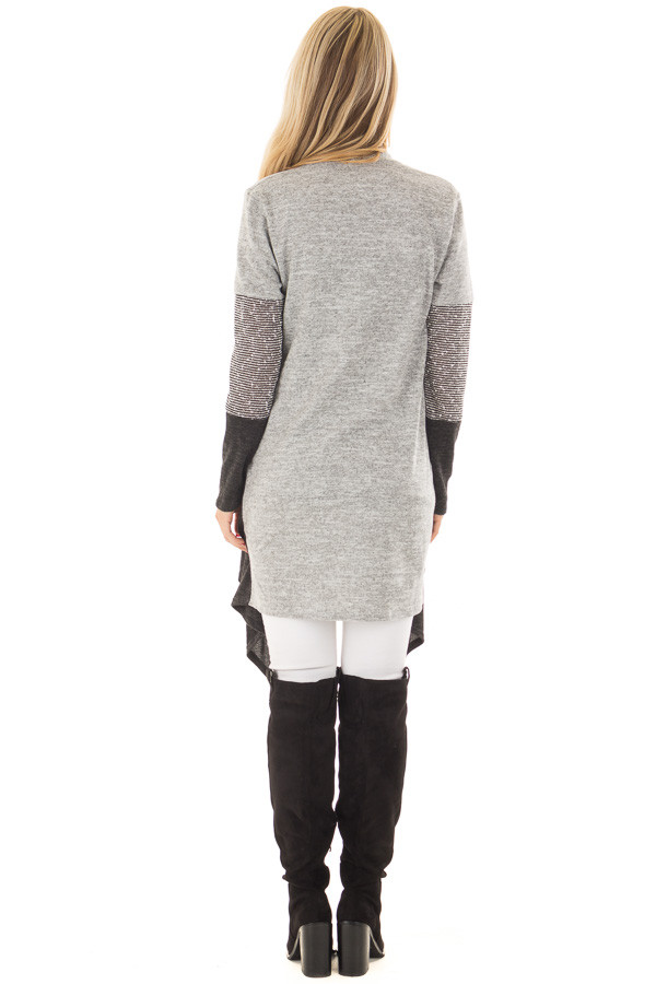 Heather Grey and Ash Color Block Cardigan back full body