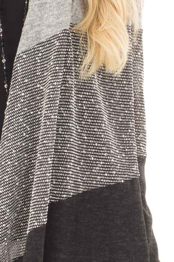 Heather Grey and Ash Color Block Cardigan detail
