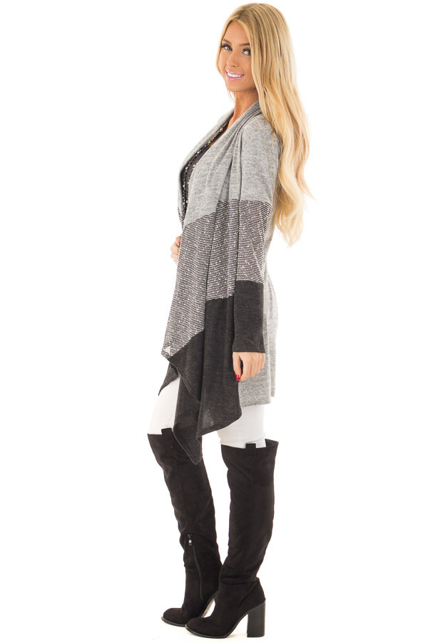 Heather Grey and Ash Color Block Cardigan side full body