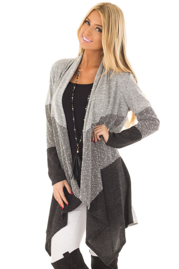Heather Grey and Ash Color Block Cardigan front close up