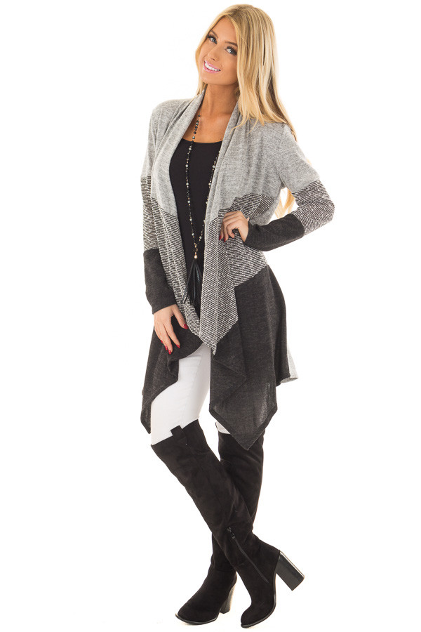 Heather Grey and Ash Color Block Cardigan front full body