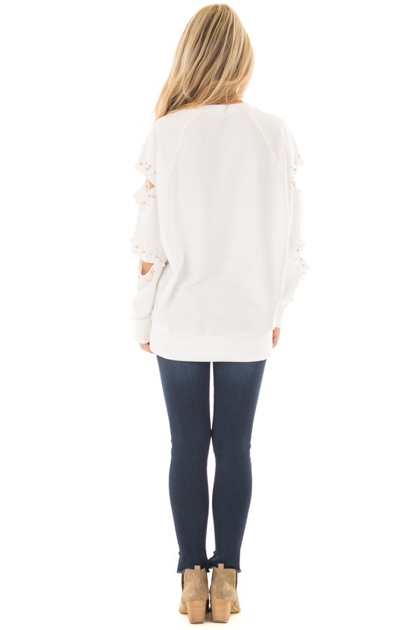 Ivory Oversized Top with Sliced and Beaded Detail back full body