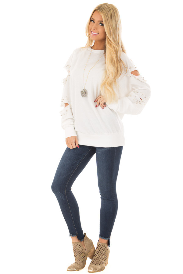 Ivory Oversized Top with Sliced and Beaded Detail front full body