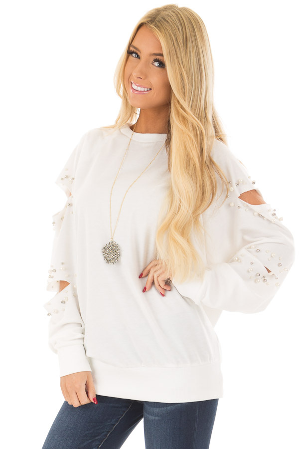Ivory Oversized Top with Sliced and Beaded Detail front close up