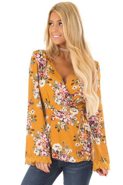 Mustard Floral Print Wrap Style Top front close up