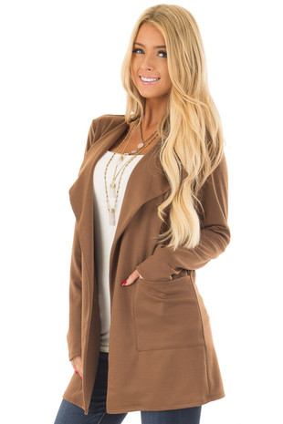 Mocha Long Blazer with Front Pockets front close up