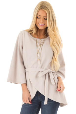 Light Grey Wrap Style Sweater with Waist Tie front close up