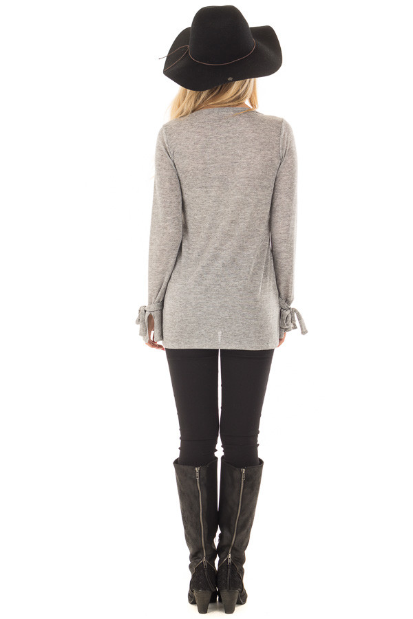 Heather Grey Top with Bell Sleeve and Tie Detail back full body