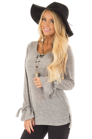 Heather Grey Top with Bell Sleeve and Tie Detail front close up