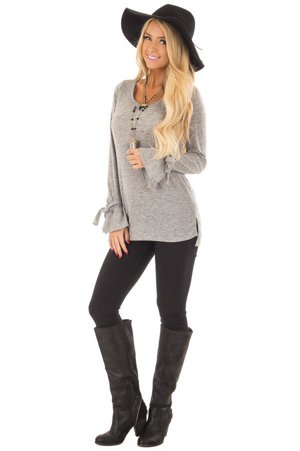 Heather Grey Top with Bell Sleeve and Tie Detail front full body