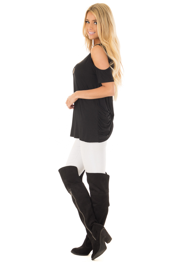 Black Cold Shoulder Top with Back Detail side full body
