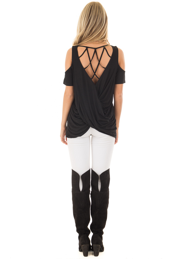 Black Cold Shoulder Top with Back Detail back full body
