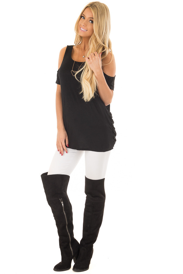 Black Cold Shoulder Top with Back Detail front full body