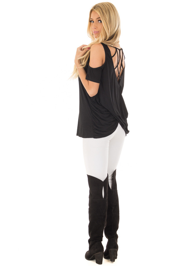 Black Cold Shoulder Top with Back Detail back side full body
