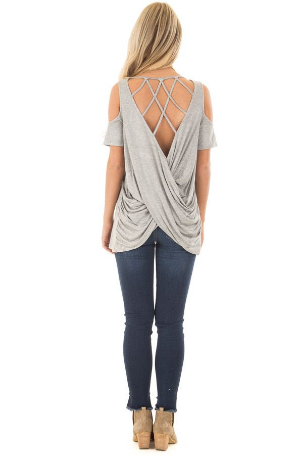 Heather Grey Cold Shoulder Top with Back Detail back full body