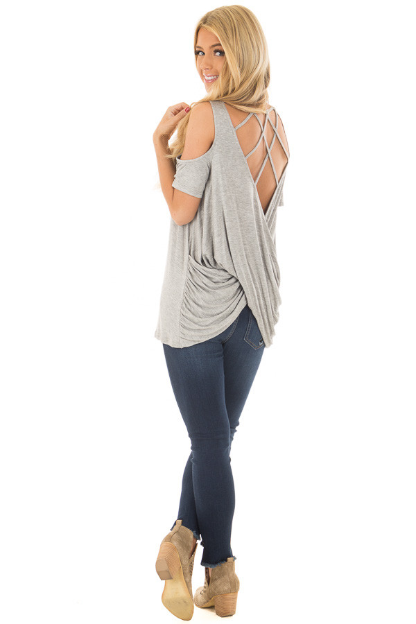 Heather Grey Cold Shoulder Top with Back Detail back side full body